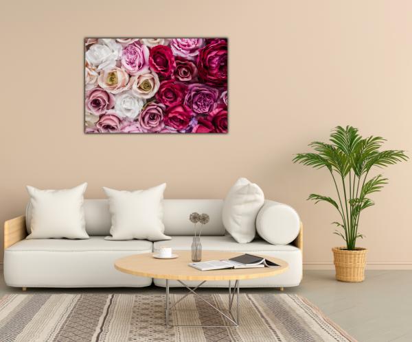 Tablou modern pe panou - pink red white roses 2