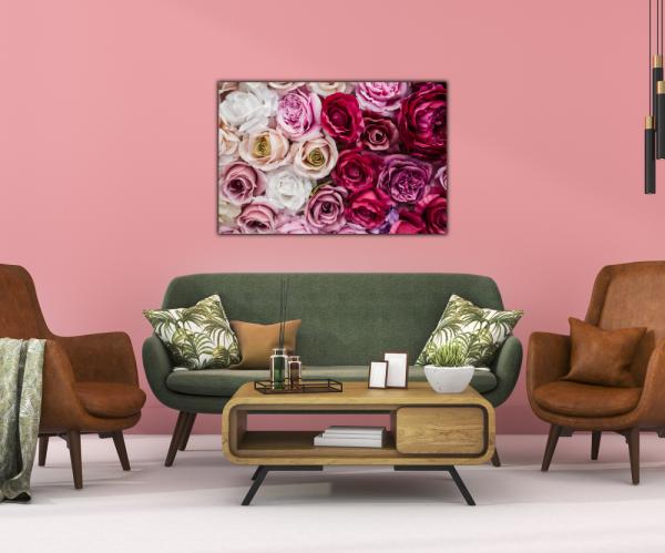 Tablou modern pe panou - pink red white roses 3