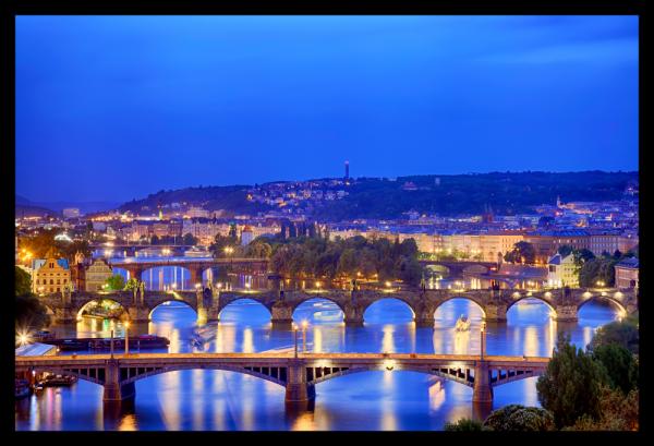 Tablou modern pe panou - Prague bridges 0