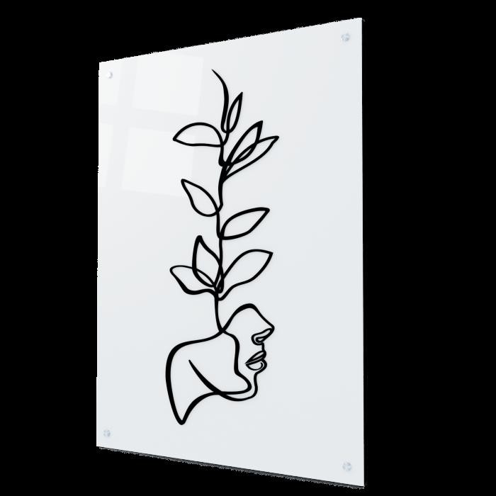 Tablou art line din sticla acrilica - Face and plant 0