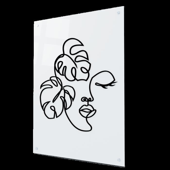 Tablou art line din sticla acrilica - Botanical face 0