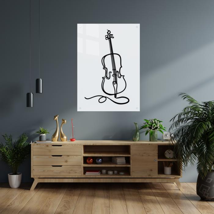 Tablou art line din sticla acrilica - Violoncelle 1