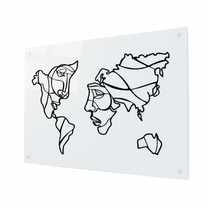 Tablou art line din sticla acrilica - Map and faces 0