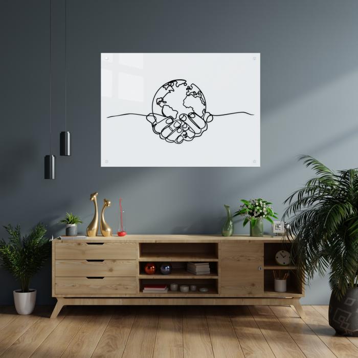 Tablou art line din sticla acrilica - Planet in hands 1