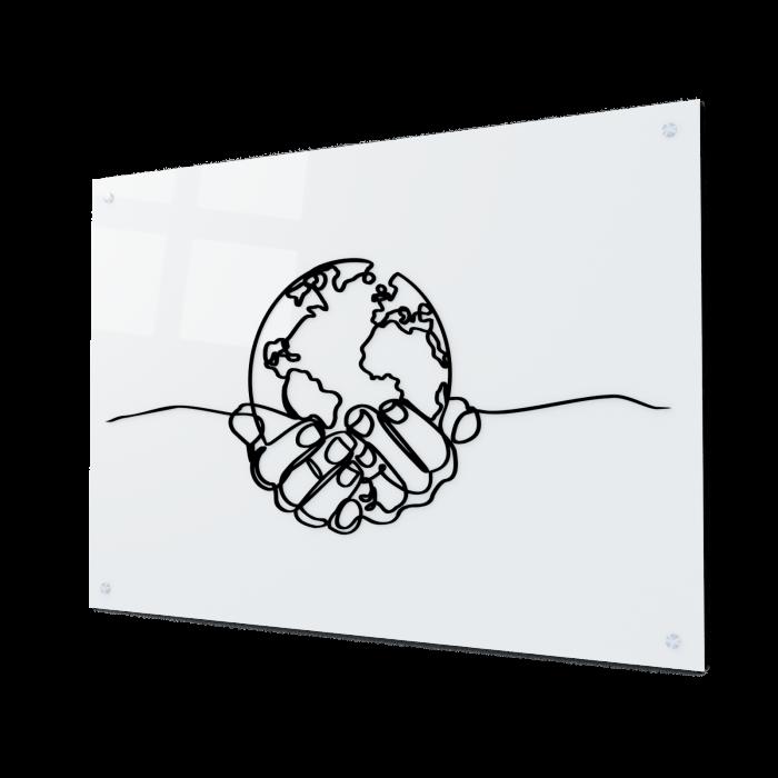 Tablou art line din sticla acrilica - Planet in hands 0