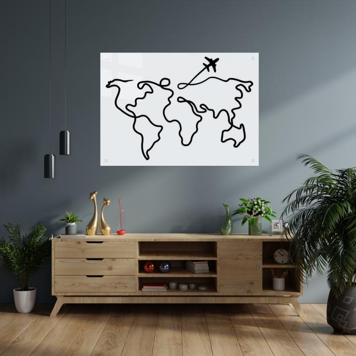 Tablou art line din sticla acrilica - Trip around the world 1
