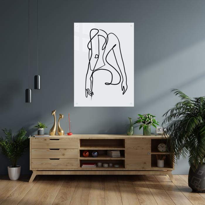 Tablou art line din sticla acrilica - Girl silhouette 1