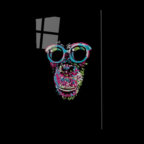 Tablou din sticla acrilica - chimp with glasses 0