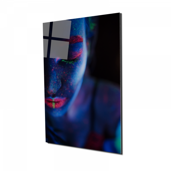 Tablou din sticla acrilica - model woman neon paint 0