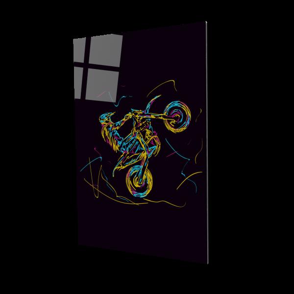 Tablou din sticla acrilica - motorcross racer 0