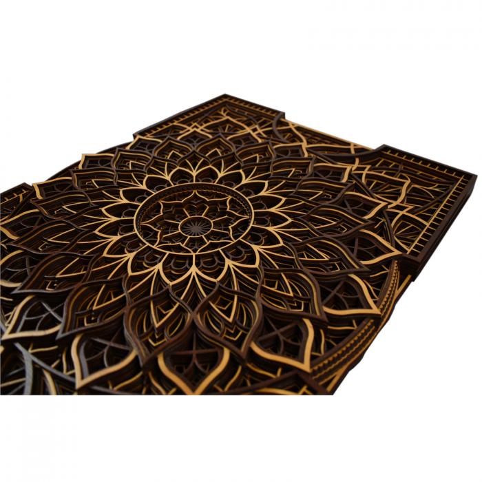 Tablou mandala din lemn - Floare infinita [2]