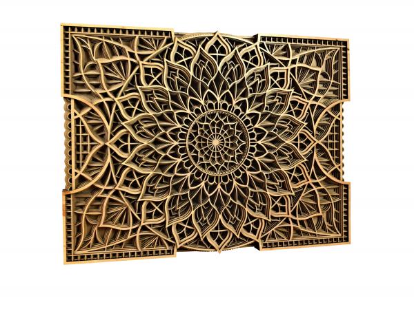 Tablou mandala din lemn - Floare infinita [1]