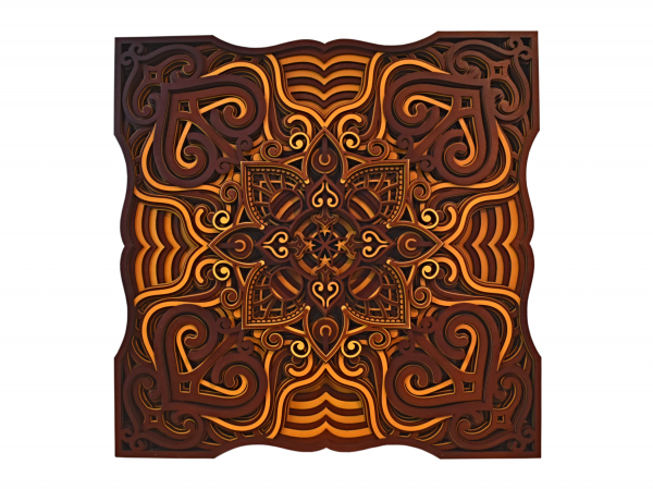 Tablou mandala din lemn - Valuri [0]