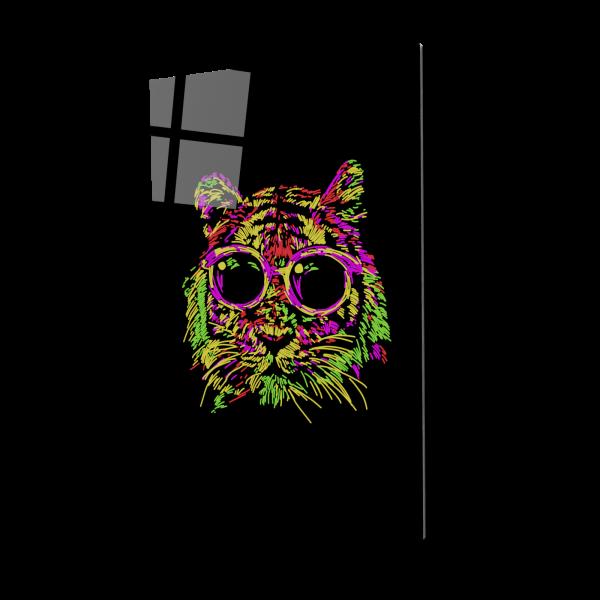 Tablou din sticla acrilica - tiger with glasses 0