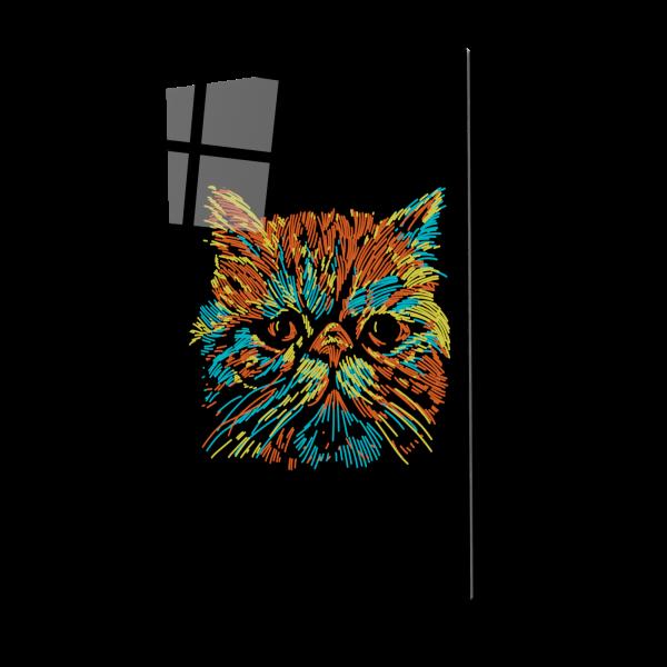 Tablou din sticla acrilica - colorful cat 0