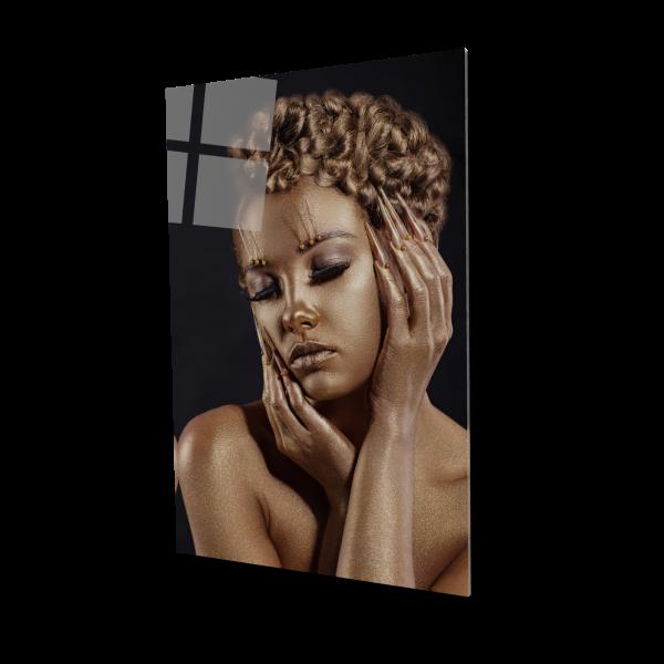 Tablou din sticla acrilica - golden makeup 0