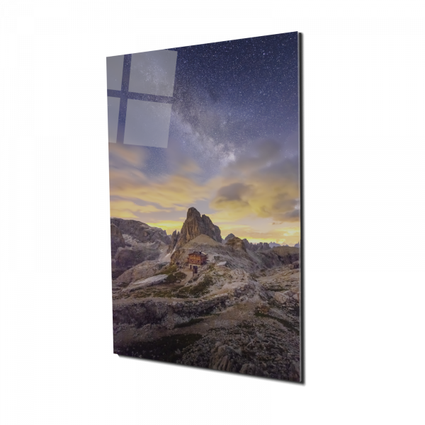 Tablou din sticla acrilica - Milky Way and Italy mountain 0