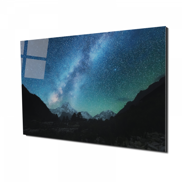 Tablou din sticla acrilica - Calea Lactee intre munti [0]