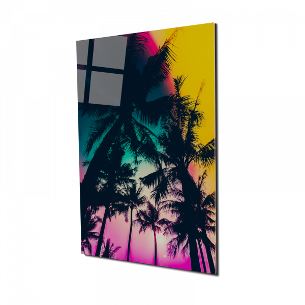 Tablou din sticla acrilica - palm trees silhouette 0