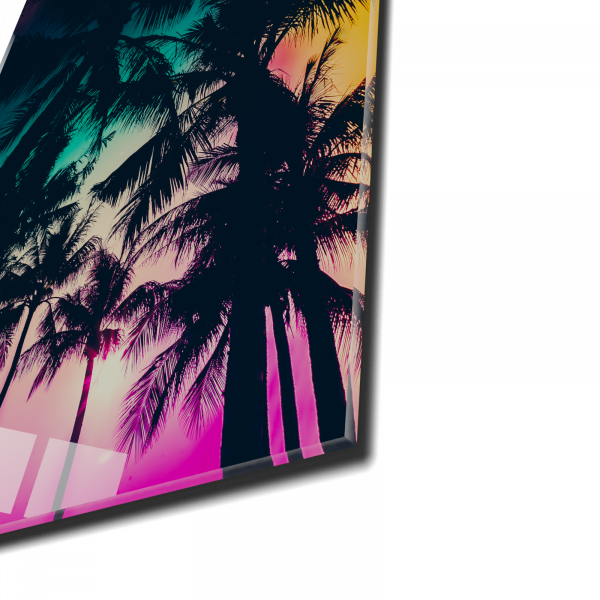 Tablou din sticla acrilica - palm trees silhouette 1