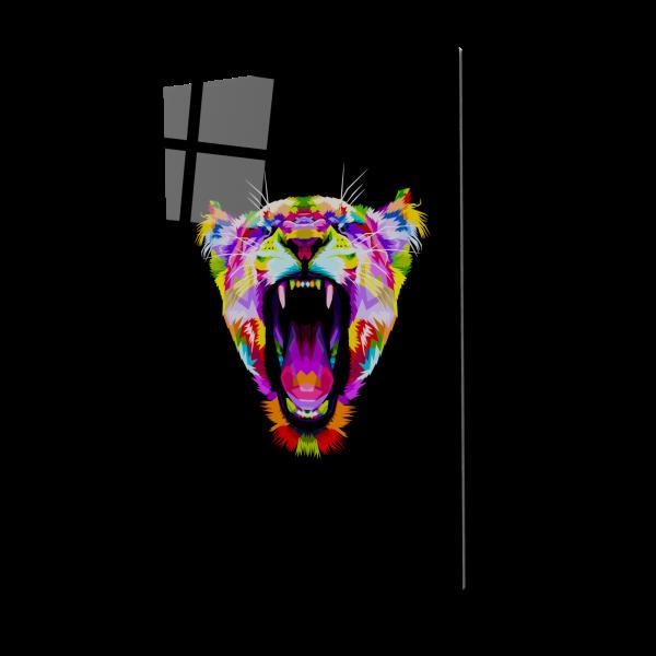 Tablou din sticla acrilica - angry colorful lion 0