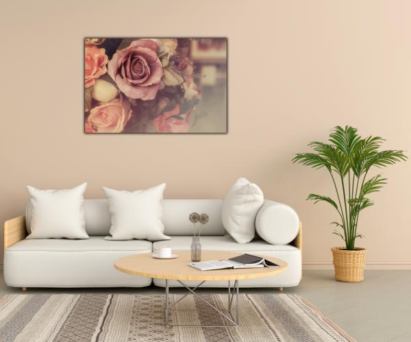 Tablou modern pe panou - colorful pink roses 2