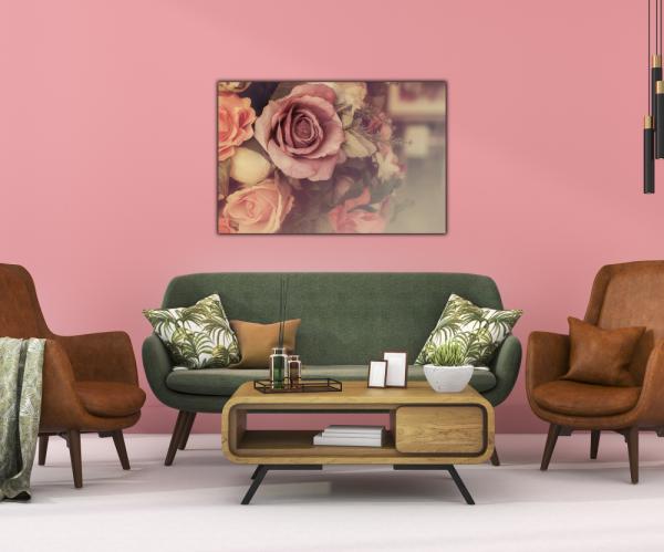 Tablou modern pe panou - colorful pink roses 3
