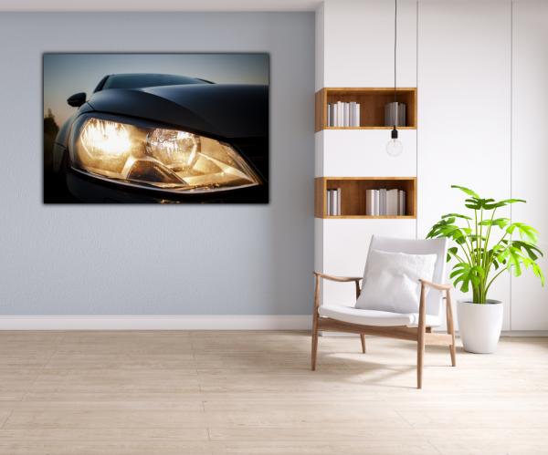 Tablou modern pe panou - beautiful black car headlights 4