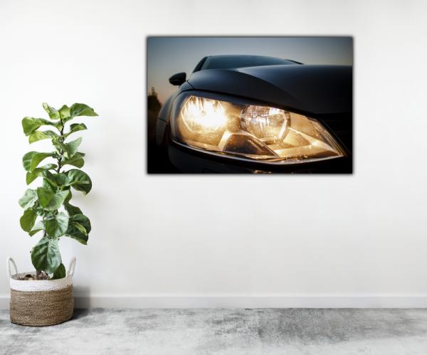 Tablou modern pe panou - beautiful black car headlights 2