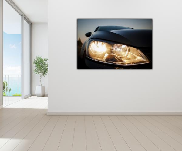 Tablou modern pe panou - beautiful black car headlights 3