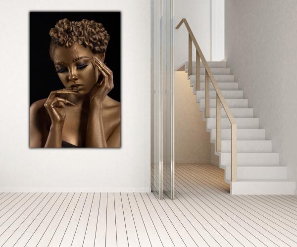 Tablou modern pe panou - woman with golden makeup 2