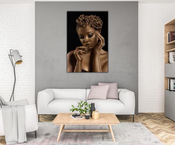 Tablou modern pe panou - woman with golden makeup 1