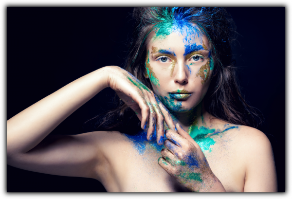 Tablou modern pe panou - girl colorful makeup 0