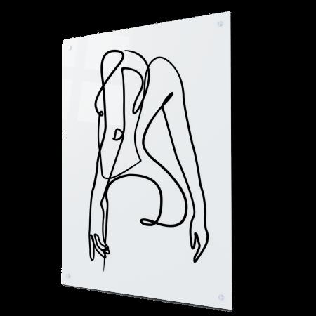 Tablou art line din sticla acrilica - Girl silhouette0