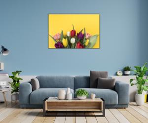 Tablou modern pe panou - muchos tulipanes1