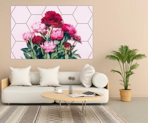 Tablou modern pe panou - pink peony flowers2