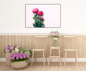 Tablou modern pe panou - pink peony4