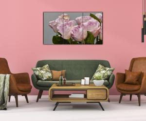 Tablou modern pe panou - bouquet blooming pink roses13