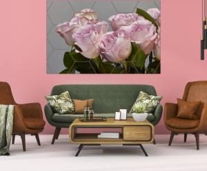 Tablou modern pe panou - bouquet blooming pink roses8