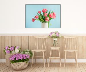 Tablou modern pe panou - bouquet red tulip vase4