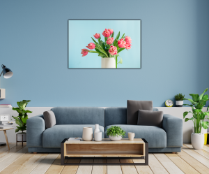 Tablou modern pe panou - bouquet red tulip vase1