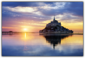 Tablou modern pe panou - Mont Saint Michel Abbey sunset0