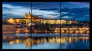 Tablou modern pe panou - Prague castle sunset0