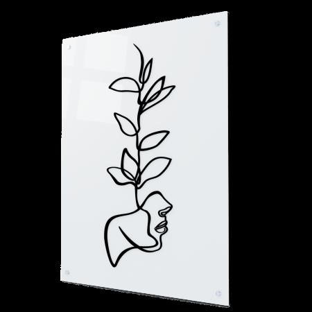 Tablou art line din sticla acrilica - Face and plant0
