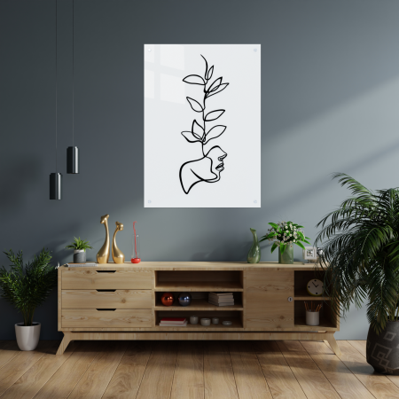Tablou art line din sticla acrilica - Face and plant1