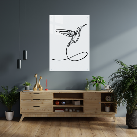 Tablou art line din sticla acrilica - Hummingbird One Line [1]