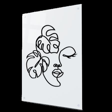 Tablou art line din sticla acrilica - Botanical face0