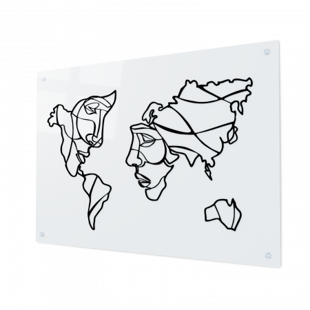 Tablou art line din sticla acrilica - Map and faces0