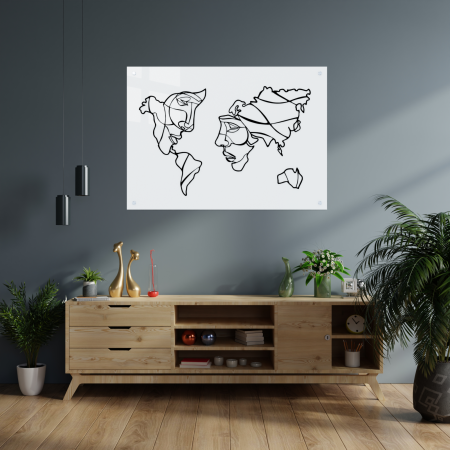 Tablou art line din sticla acrilica - Map and faces1