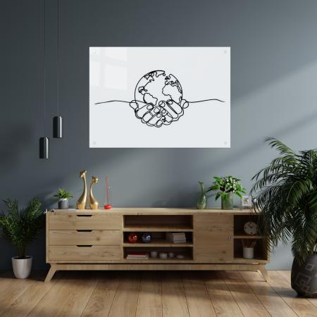 Tablou art line din sticla acrilica - Planet in hands1